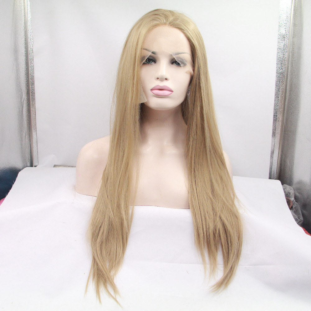 Handmade Long Blonde Natural Straight Synthetic Lace Front Wig