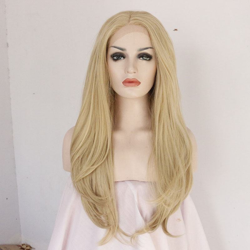 Handmade Long Blonde Natural Wave Lace Front Wig