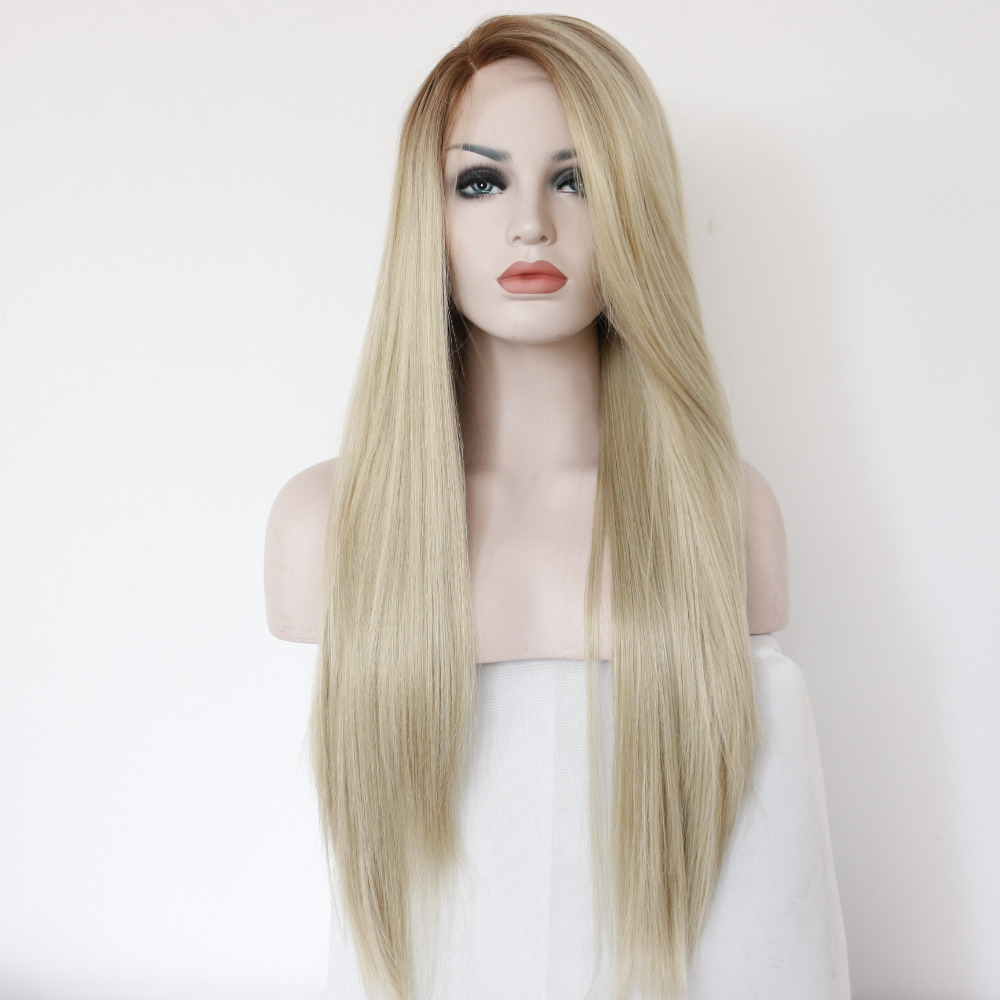 Handmade Straight Ombre Brown to Blonde Synthetic Lace Front Wig For White Women