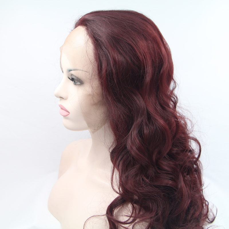 Handmade Wine Red Long Loose Wave Lace Front Wigs 1