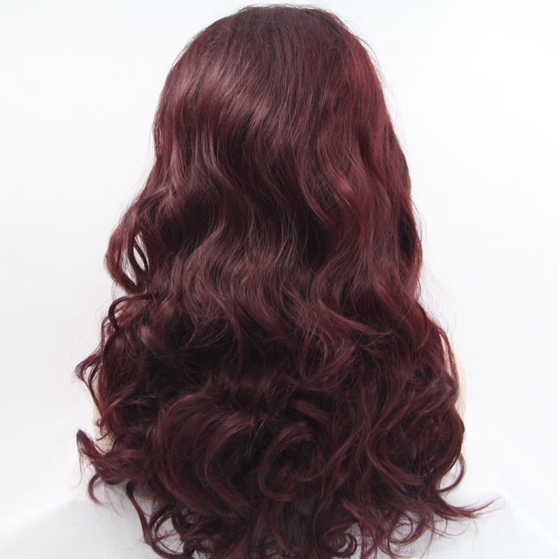 Handmade Wine Red Long Loose Wave Lace Front Wigs 2