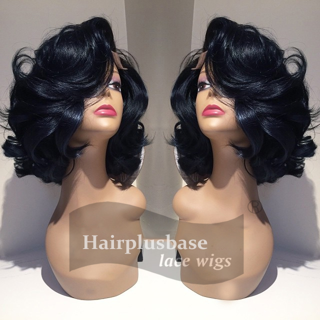 Hollywood Glamour Written Black Wavy Human Hair Lace Wigs
