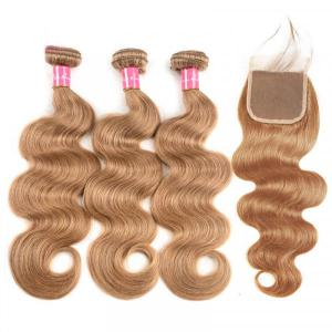 Honey Blonde Hair Color #27 Body Wave Hair Bundles With Lace Closure