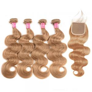 Honey Blonde Hair Color 27 Body Wave Weave 4 Bundles With Closure