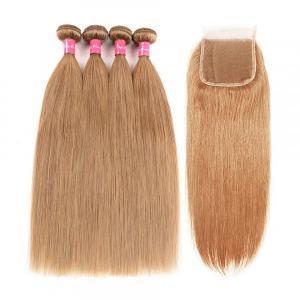 Honey Blonde Hair Color 27 Straight Wavy Hair Bundles With 4*4 Closure