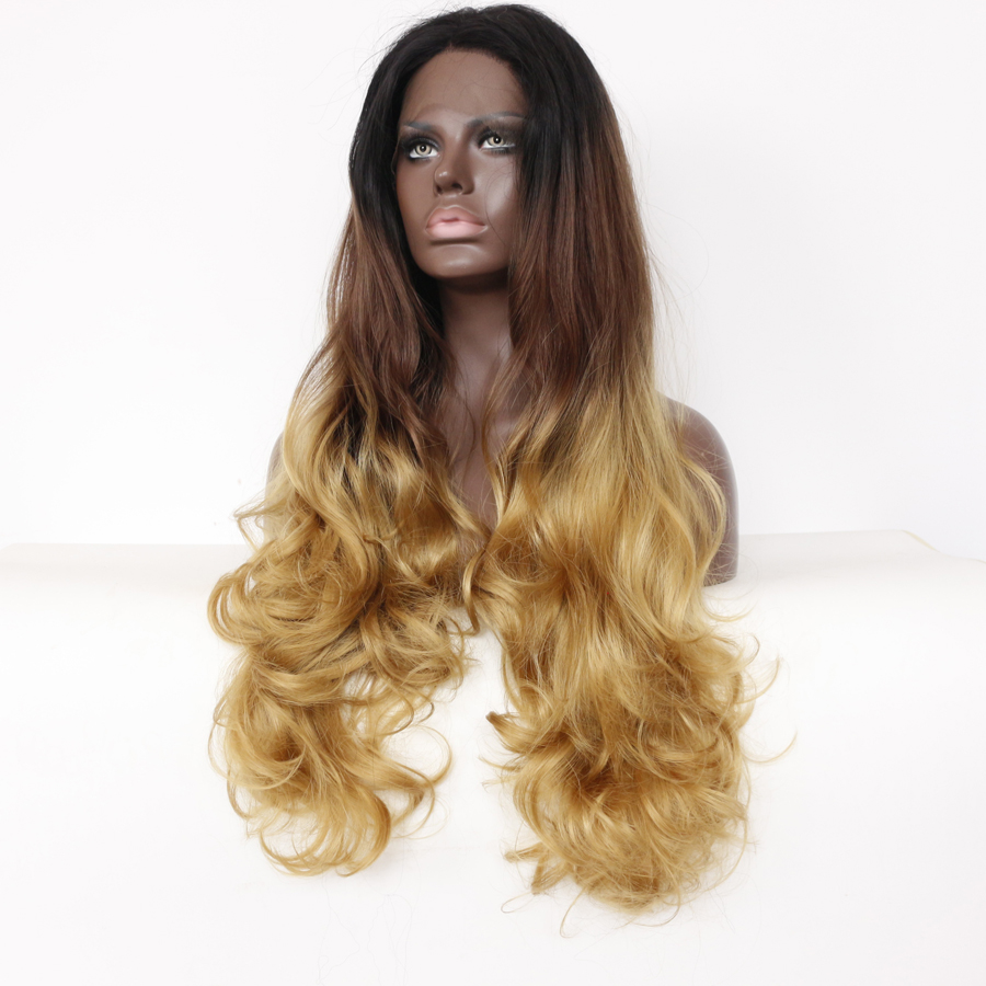 Hot Long Ombre Blonde Synthetic Glueless Lace Front Wigs