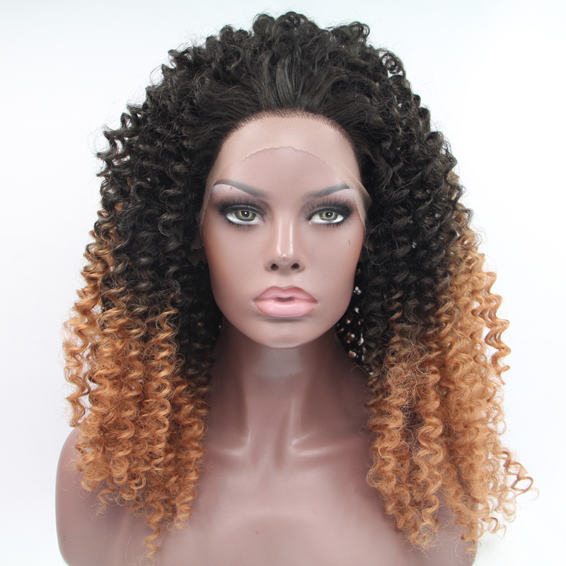 Hot Sale Afro Curly Ombre Synthetic Lace Front Wig