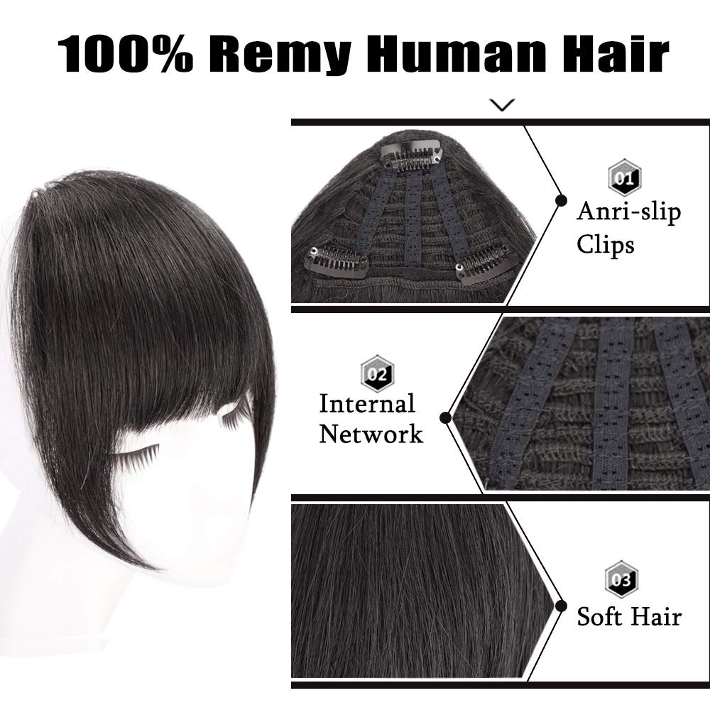 Human Hair Clip In Bangs Hair Extension Flat Frienge Hairpiece 1