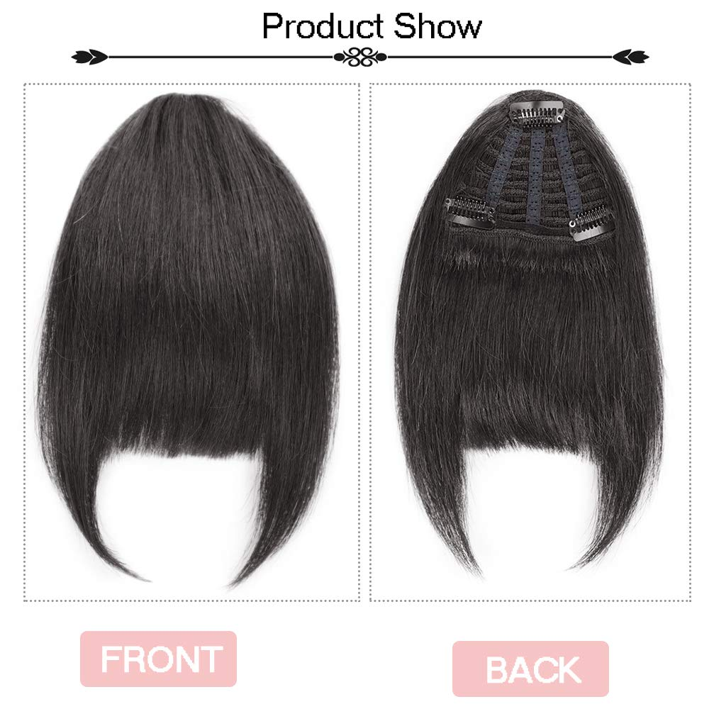 Human Hair Clip In Bangs Hair Extension Flat Frienge Hairpiece 2