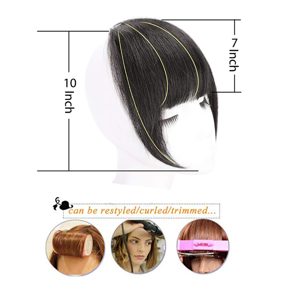 Human Hair Clip In Bangs Hair Extension Flat Frienge Hairpiece 5