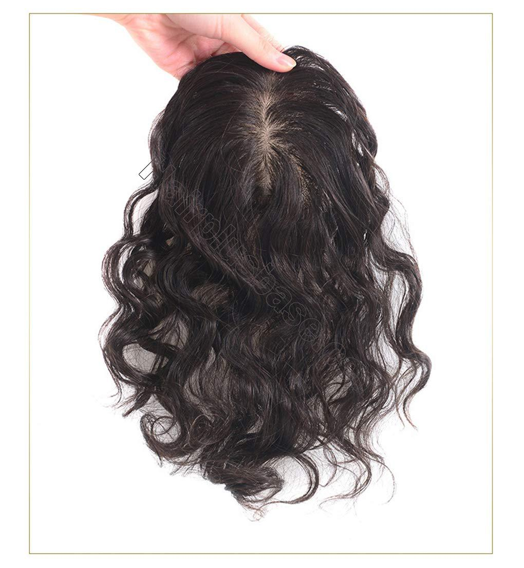 Human Hair Clip in Toppers for Women Wavy Curly, 7x10cm Silk Base Crown Topper Hair Pieces for Thinning Hair 2