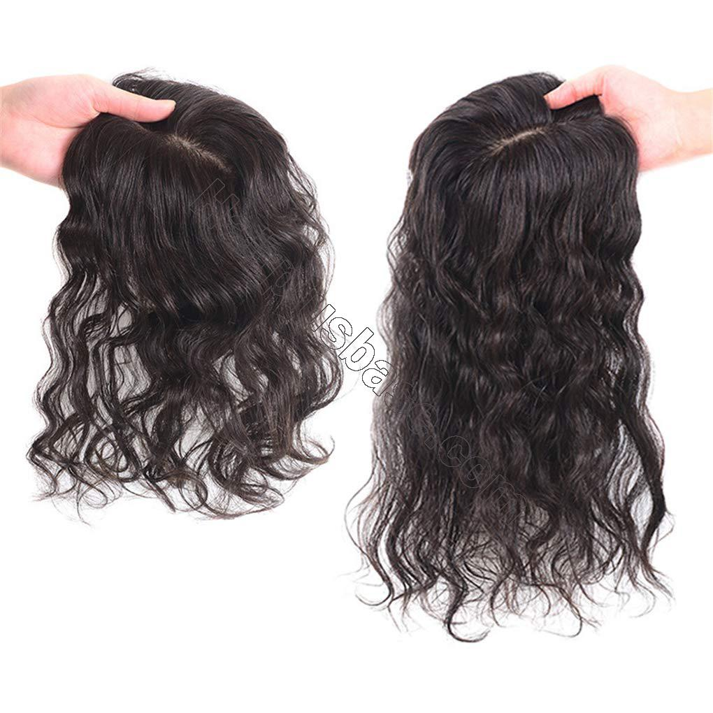 Human Hair Clip in Toppers for Women Wavy Curly, 7x10cm Silk Base Crown Topper Hair Pieces for Thinning Hair 3