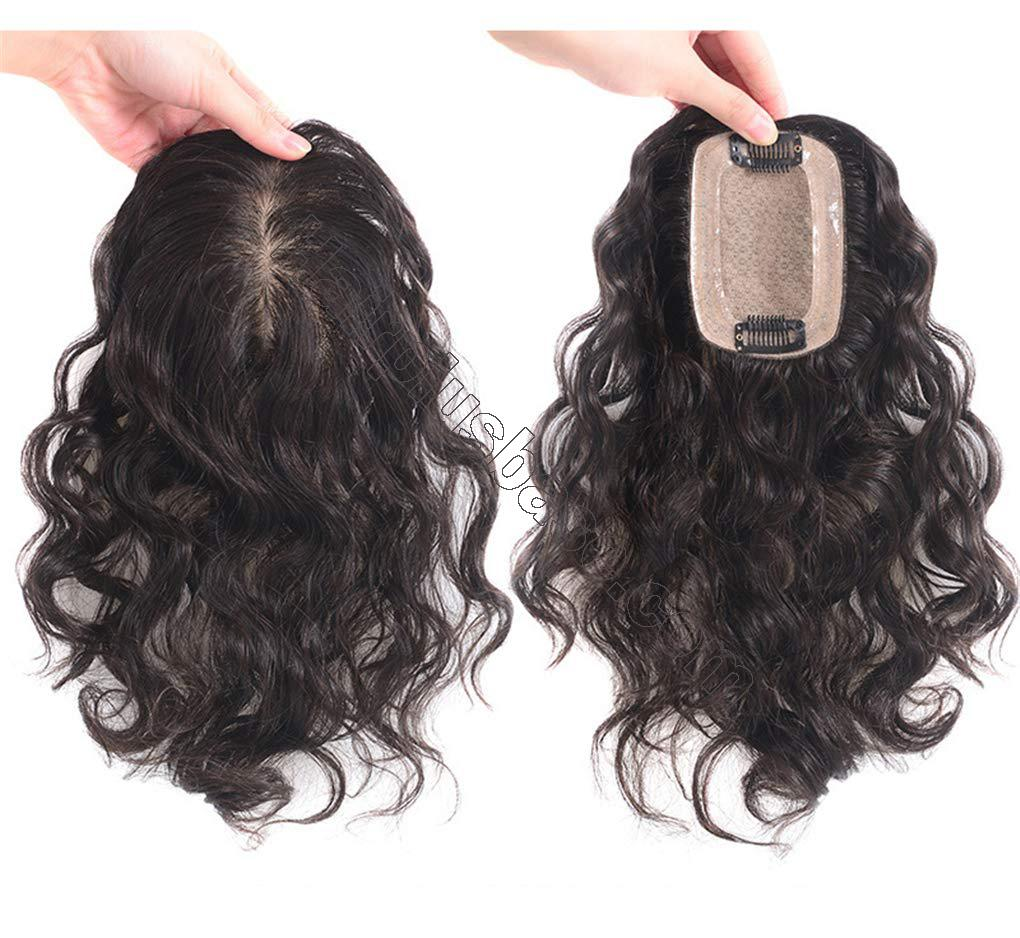 Human Hair Clip in Toppers for Women Wavy Curly, 7x10cm Silk Base Crown Topper Hair Pieces for Thinning Hair 4