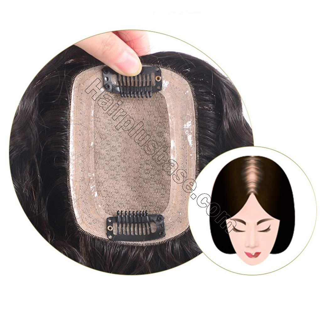 Human Hair Clip in Toppers for Women Wavy Curly, 7x10cm Silk Base Crown Topper Hair Pieces for Thinning Hair 5