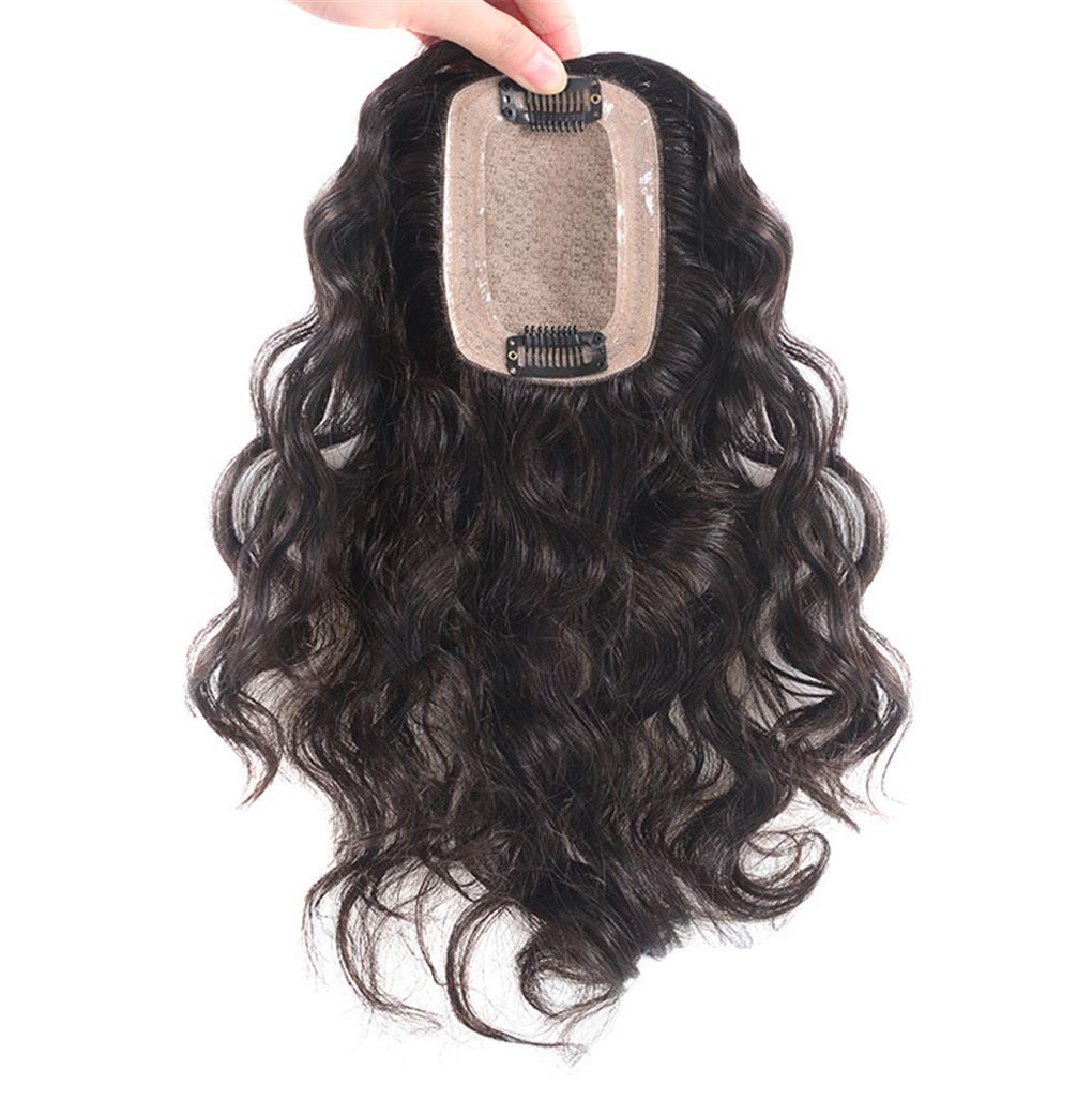 Human Hair Clip in Toppers for Women Wavy Curly, 7x10cm Silk Base Crown Topper Hair Pieces for Thinning Hair 8