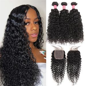 Human Hair Curly Weave 3 Virgin Hair Bundles With Closure