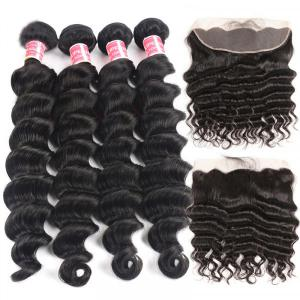 Human Hair Loose Deep 4 Bundles With Lace Frontal Closure Cheap Virgin Hair