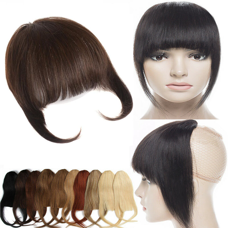 Human Hair Toupee Clip In/On Neat Bangs Fringes With Temples Hair Extensions Straight