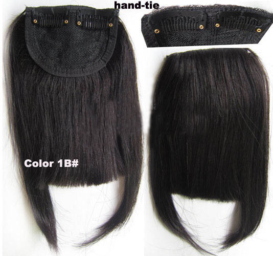 Human Hair Toupee Clip In/On Neat Bangs Fringes With Temples Hair Extensions Straight 1