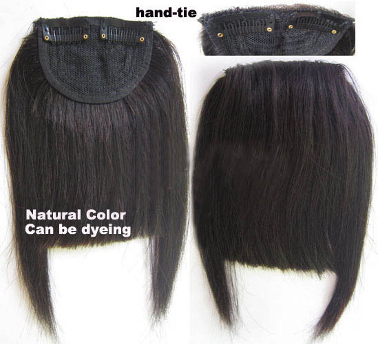 Human Hair Toupee Clip In/On Neat Bangs Fringes With Temples Hair Extensions Straight 2