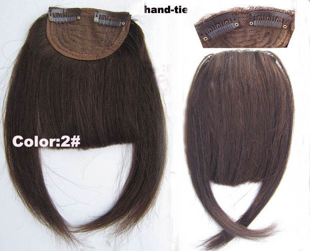 Human Hair Toupee Clip In/On Neat Bangs Fringes With Temples Hair Extensions Straight 3