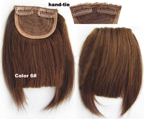 Human Hair Toupee Clip In/On Neat Bangs Fringes With Temples Hair Extensions Straight 4