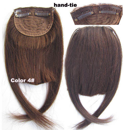 Human Hair Toupee Clip In/On Neat Bangs Fringes With Temples Hair Extensions Straight 5