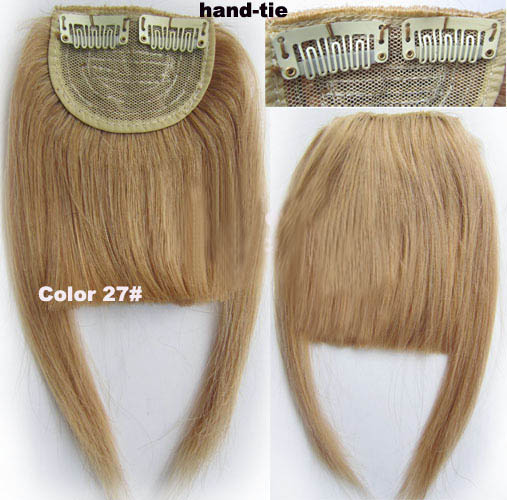 Human Hair Toupee Clip In/On Neat Bangs Fringes With Temples Hair Extensions Straight 6