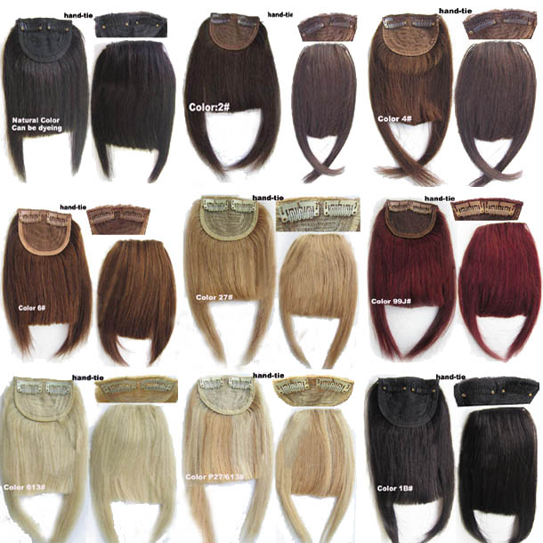 Human Hair Toupee Clip In/On Neat Bangs Fringes With Temples Hair Extensions Straight 7