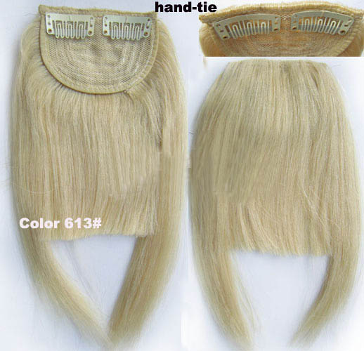 Human Hair Toupee Clip In/On Neat Bangs Fringes With Temples Hair Extensions Straight 8