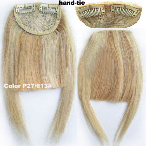 Human Hair Toupee Clip In/On Neat Bangs Fringes With Temples Hair Extensions Straight 9