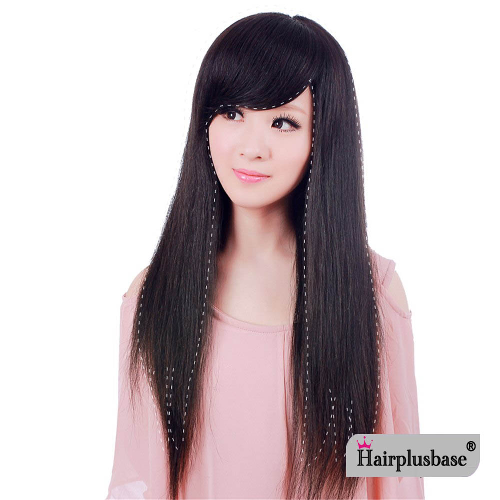 Human Hair Women Seamless Real Hair Silk Base Topper Hairpiece