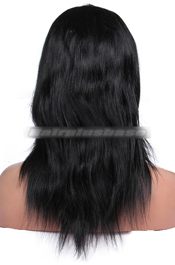 12 Inch #1 Natural Straight Full Lace Indian Remy Hair Wigs