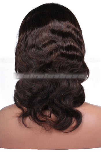 12 Inch #2 with #4 Highlights Body Wave Indian Remy Hair Clearance Full Lace Wigs