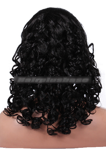 18 Inch Bottom Curl #1 Indian Remy Hair Clearance Glueless Lace Front Wigs