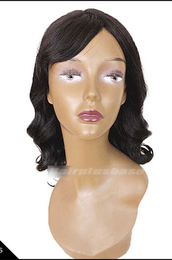 14 Inch Bottom Curl #1B Indian Remy Human Hair Glueless Wigs With Bangs