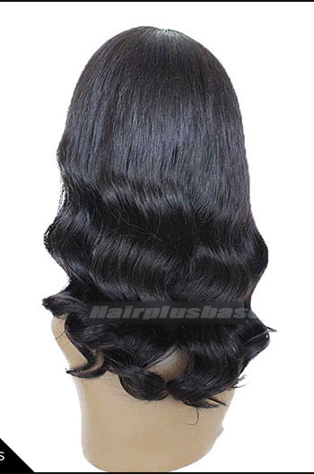 Bottom Curl 1B# Color Indian Remy Human Hair Glueless Wigs With Bangs JZ-006