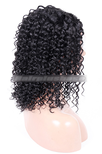 1# 14inches Indian Remy Hair Middle Part Curly Style Natural Looking Glueless Lace Part Lace Wigs