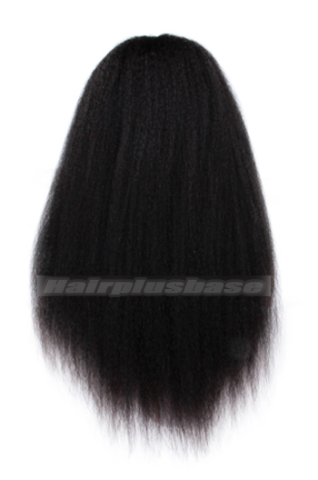 Indian Remy Hair Full Bangs Kinky Straight Glueless Non-lace Wigs With Natural Looking Silk Top Hair Whorl