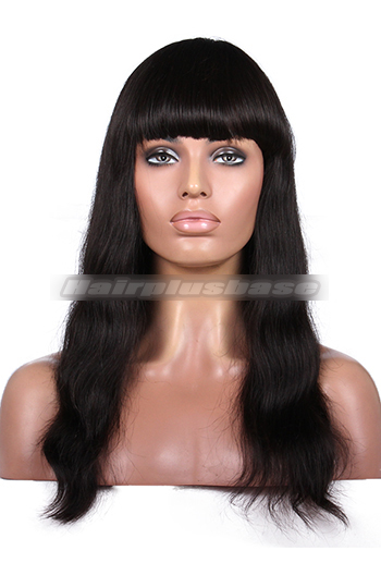 16 Inch Natural Straight Indian Remy Hair Full Bangs Glueless Wigs With Natural Looking Silk Top Hair Whorl {10-15 business days processing time}