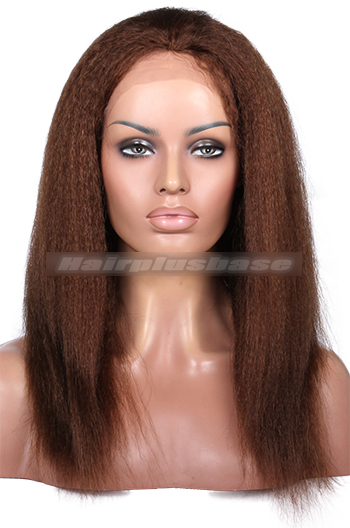 14 Inch #4 Kinky Straight Indian Remy Hair Clearance Glueless Lace Front Wigs