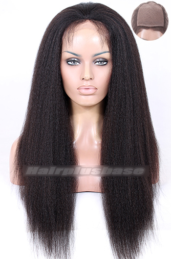 Kinky Straight Indian Remy Hair Glueless Silk Top Full Lace Wigs