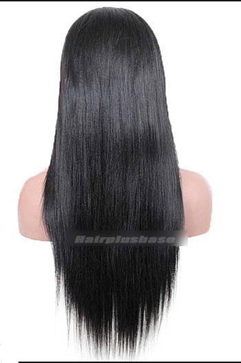 18 Inch Light Yaki #1B Indian Remy Human Hair Glueless Wigs