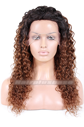 Yaki Curly Style Indian Remy Hair Ombre Brown Lace Front Wigs {Custom Wig Production Time 15-20 working days}