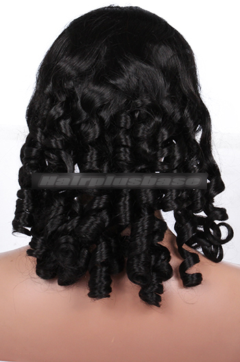 Indian Remy Hair 1# Color 18inches Medium Size Spiral Curl Clearance Glueless Lace Front Wigs