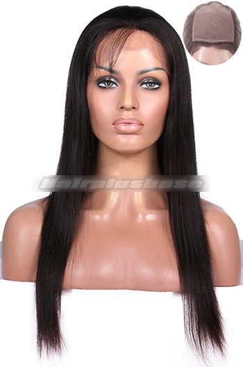 Yaki Straight Indian Remy Hair Glueless Silk Top Full Lace Wigs