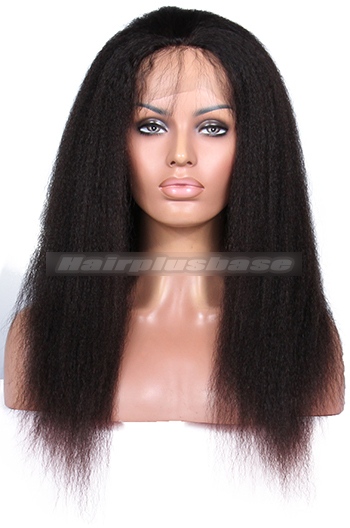 Kinky Straight Indian Remy Human Hair Glueless Full Lace Wigs