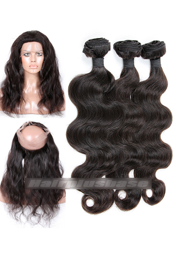Body Wave 6A Virgin Hair 360°Circular Lace Frontal with 3 Weaves Bundles Deal