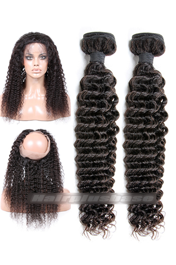 Deep Wave 6A Virgin Hair 360°Circular Lace Frontal with 2 Weaves Bundles Deal