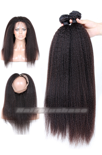 Kinky Straight 6A Virgin Hair 360°Circular Lace Frontal with 2 Weaves Bundles Deal